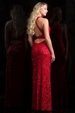 Style 48690 Scala Red Size 2 Sheer Tall Height Mermaid Dress on Queenly