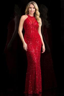 Style 48690 Scala Red Size 4 Sheer Tall Height Mermaid Dress on Queenly