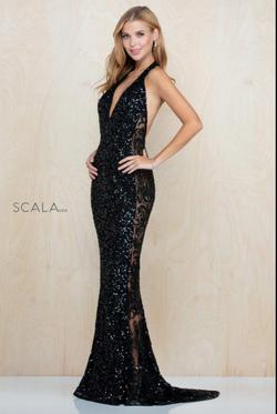 Style 48959 Scala Black Size 6 Prom Halter Pageant Mermaid Dress on Queenly