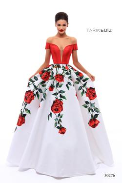 Style 50276 Tarik Ediz Red Size 4 Quinceanera Tall Height Ball gown on Queenly