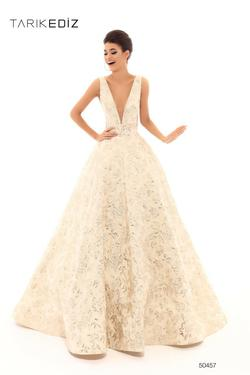 Style 50457 Tarik Ediz Nude Size 10 Pageant Backless Tall Height Ball gown on Queenly
