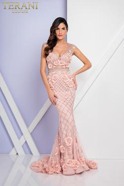 Style 1722GL4488 Terani Couture Pink Size 6 Sleeves Tall Height Mermaid Dress on Queenly