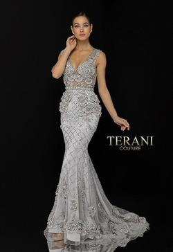 Style 1722GL4488 Terani Couture Silver Size 10 Sleeves Pageant Tall Height Mermaid Dress on Queenly
