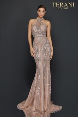 Style 2011GL2182 Terani Couture SIlver Size 8 Pageant Halter Tall Height Mermaid Dress on Queenly
