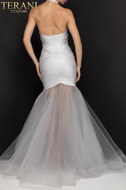 Style 2011P1147 Terani Couture Silver Size 8 Halter Sheer Tall Height Mermaid Dress on Queenly