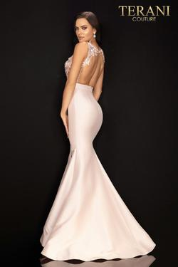 Style 2011P1467 Terani Couture Pink Size 8 Sheer Tall Height Side slit Dress on Queenly