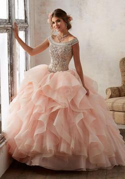 Style 89138 Vizcaya Pink Size 6 Ruffles Jewelled Ball gown on Queenly