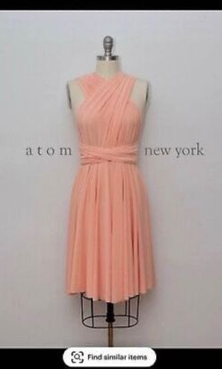 Atom New York Orange Size 12 Flare Bridesmaid Cocktail Dress on Queenly