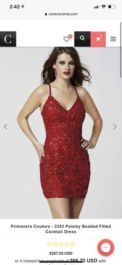 Style 3353 Primavera Red Size 2 Homecoming Sorority Formal Cocktail Dress on Queenly