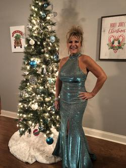 Sherri Hill Blue Size 6 Short Height Halter Train Mermaid Dress on Queenly