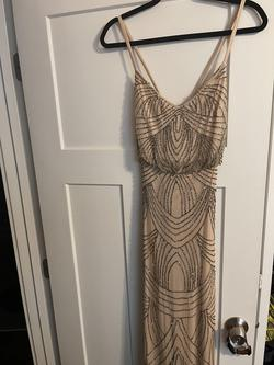 Adrianna Papell Nude Size 2 Sheer Wedding Guest Straight Dress on Queenly