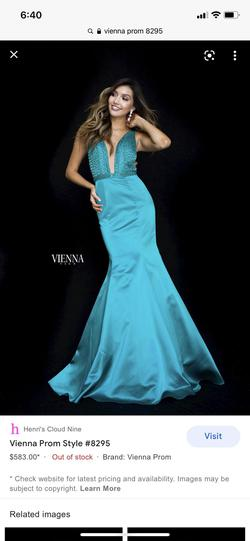 Vienna Green Size 4 Sheer Pageant Mermaid Dress on Queenly