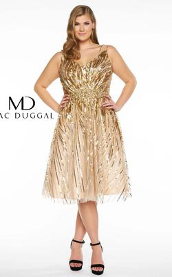 Mac Duggal Gold Size 14 Cocktail Dress on Queenly