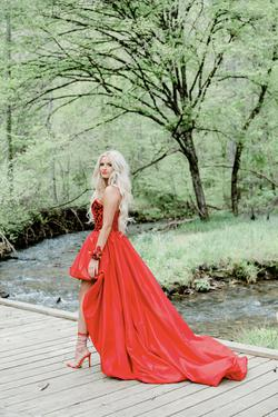 Sherri Hill Red Size 2 Overskirt Train A-line Dress on Queenly