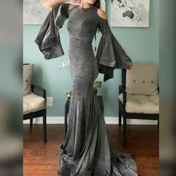 Jonathan Kayne Silver Size 2 Mermaid Pageant High Neck Straight Dress on Queenly