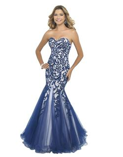 Style 10013 Blush Prom  Blue Size 4 Mermaid Dress on Queenly