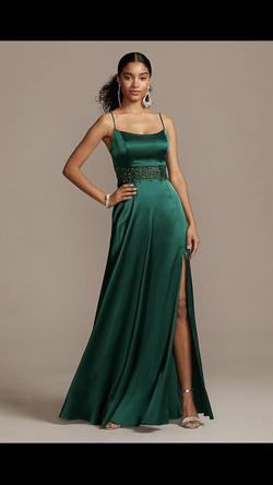 David's Bridal Green Size 4 Tall Height A-line Dress on Queenly
