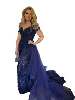 Tarik Ediz Blue Size 8 Jewelled Straight Dress on Queenly