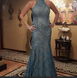 Jovani Blue Size 8 Prom Wedding Guest Mermaid Dress on Queenly