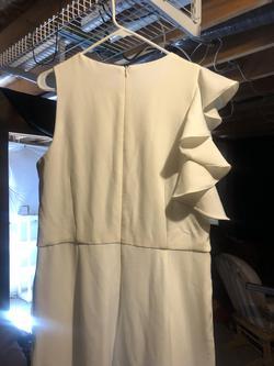 Julia Jordan White Size 12 Fun Fashion Ruffles Jumpsuit Dress on Queenly