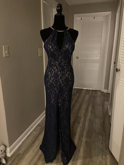 B. Darlin Blue Size 6 Halter Wedding Guest Straight Dress on Queenly
