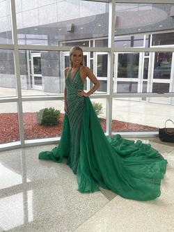 Jovani Green Size 4 Train Custom Pageant Straight Dress on Queenly