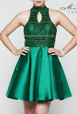 Milano Formals  Green Size 12 Halter Cocktail Dress on Queenly