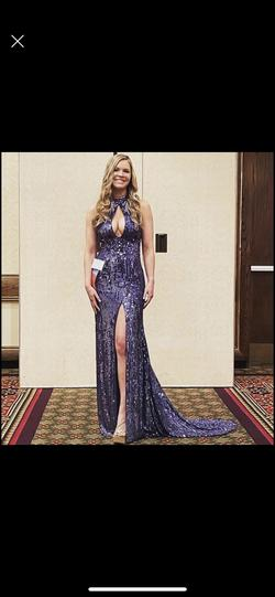 Sherri Hill Purple Size 2 Tall Height Train Halter Straight Dress on Queenly