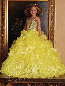 Style 13381 Tiffany Princess Yellow Size 00 Silver Ball gown on Queenly