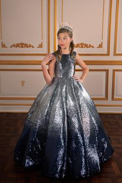 Style 13570 Tiffany Princess Silver Size 00 Sequin Ball gown on Queenly