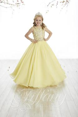 Style 13500 Tiffany Princess Yellow Size 00 Sequin Ball gown on Queenly