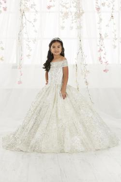 Style 13550 Tiffany Princess Silver Size 00 Sequin Ball gown on Queenly