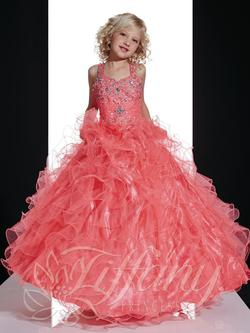 Style 13361 Tiffany Princess Orange Size 00 Coral Sequin Ball gown on Queenly