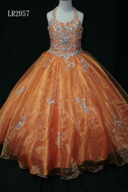 Style LR2057 Little Rosie Orange Size 00 Pageant Ball gown on Queenly