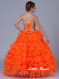 Style LR2058 Little Rosie Orange Size 00 Pageant Ball gown on Queenly