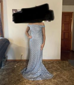 Andrea and Leo Couture Light Blue Size 6 Train Pageant Straight Dress on Queenly