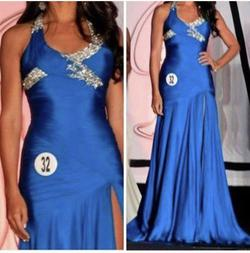 Sherri Hill Blue Size 6 Halter Custom Silk Side slit Dress on Queenly