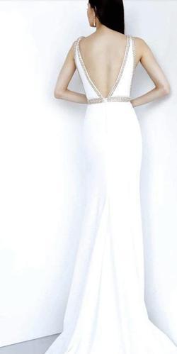 Jovani White Size 8 Plunge Pageant V Neck Side Slit A-line Dress on Queenly