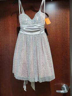 Style  D4AJ6518 Josh Prom Silver Size 6 Shiny Sequin Jewelled Cocktail Dress on Queenly