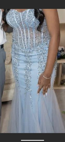 Jovani Light Blue Size 8 Jewelled Sequin Mermaid Dress on Queenly
