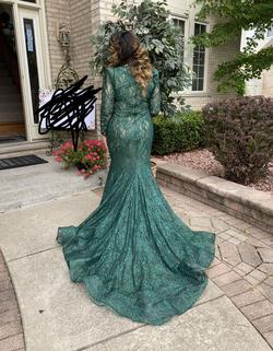 Tarik Ediz Green Size 12 Long Sleeve Train Pageant Mermaid Dress on Queenly