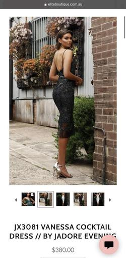 Jadore Evening Black Size 4 Sorority Formal Lace Wedding Guest Fitted Cocktail Dress on Queenly