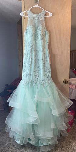 Paris Blue Size 8 Train Pageant Short Height Mermaid Dress on Queenly