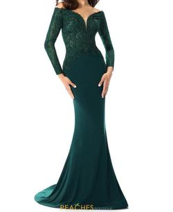 Mori Lee Green Size 2 Long Sleeve Embroidery Pageant Jersey Straight Dress on Queenly