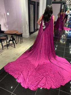 Johnathan Kayne Purple Size 4 Pageant Side Slit Cape Silk Train Dress on Queenly