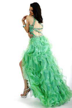 Style 6007 Partytime Green Size 16 Ruffles Pageant High Low A-line Dress on Queenly