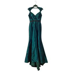Style 12118L Mac Duggal Green Size 2 Train Mermaid Dress on Queenly