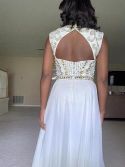 Jovani White Size 4 Gold A-line Dress on Queenly