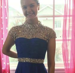 Sherri Hill Royal Blue Size 0 Pageant Sequin Ball gown on Queenly