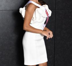 Jovani White Size 0 Mini Interview Bodycon Cocktail Dress on Queenly